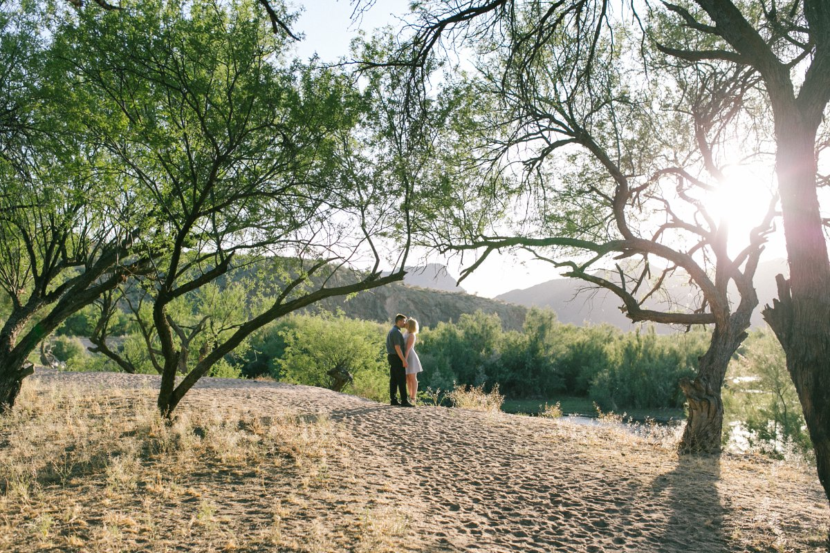 outdoor scenic Salt River engagement session in Arizona