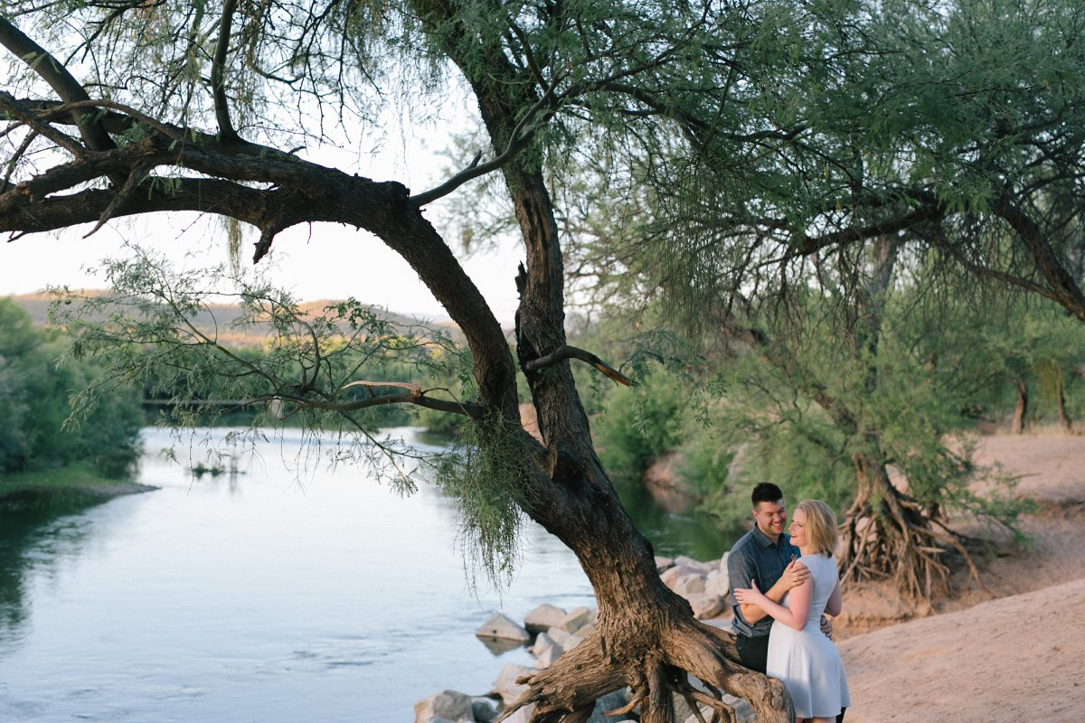 beautiful scenic outdoor Salt River engagement session in Arizona