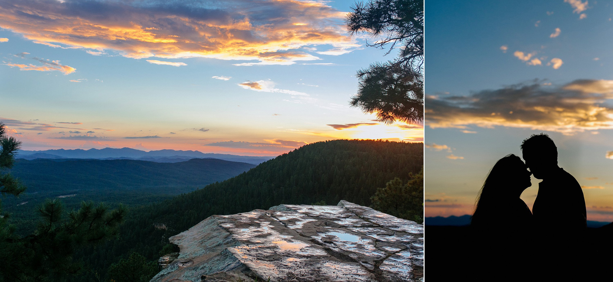 sunset over Mogollon Rim with couple kissing silhouetted