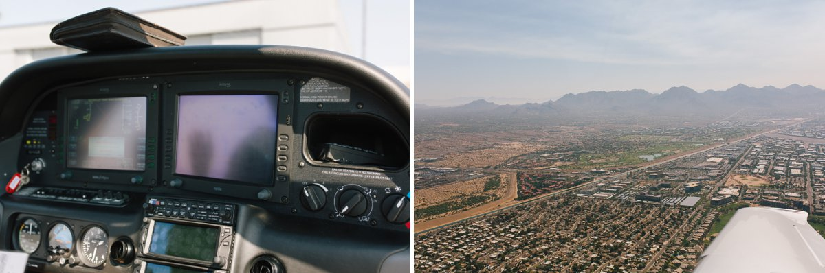 small plane cockpit flying over Phoenix