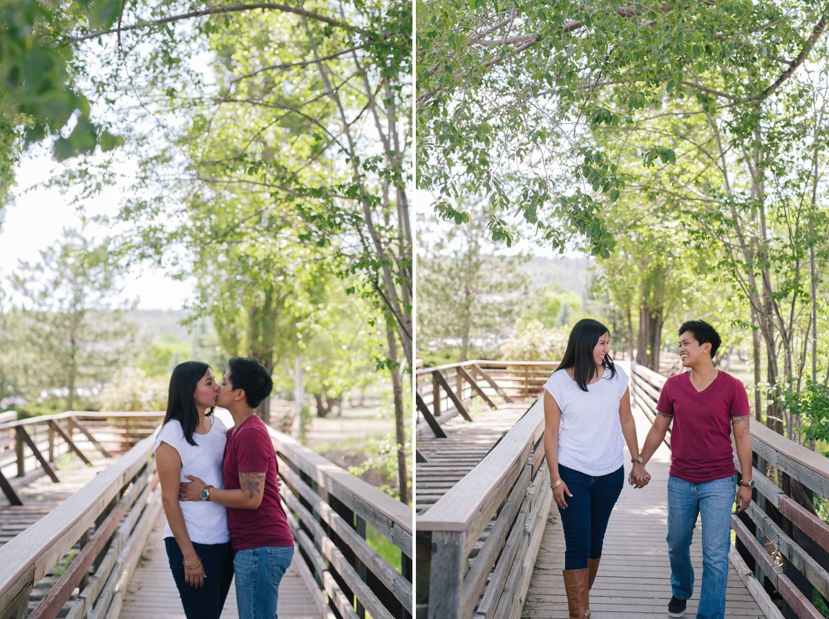 casual Flagstaff engagement photos same sex couple