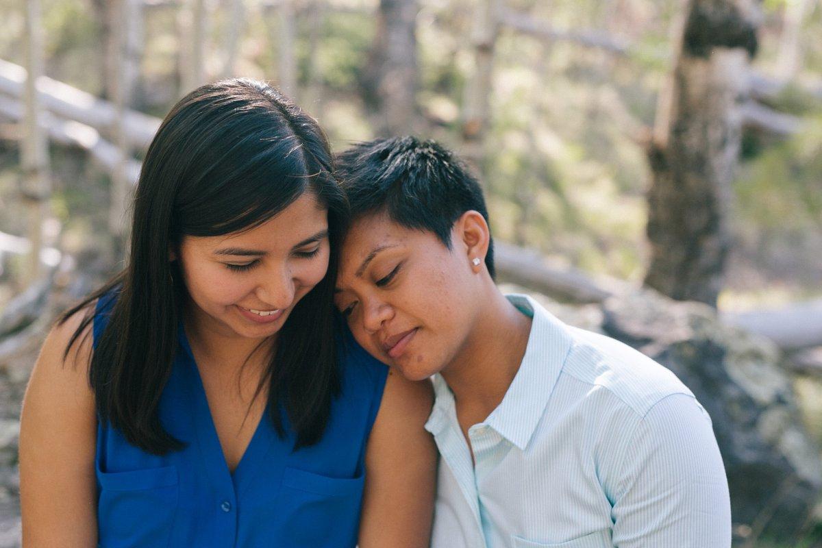 same sex women engagement session Lockett Meadow Flagstaff