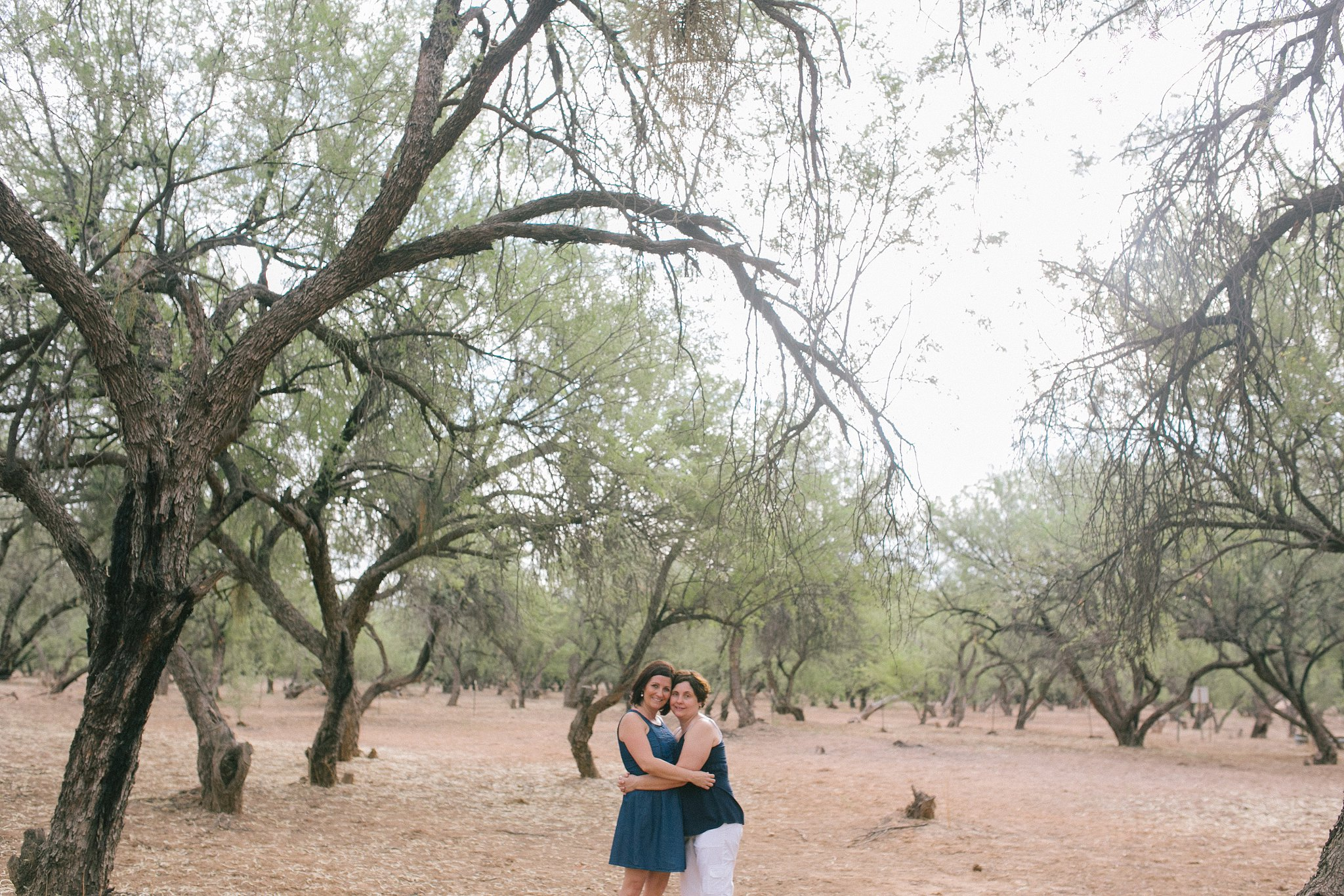 LGBT same sex engagement session in Arizona mesquite forest