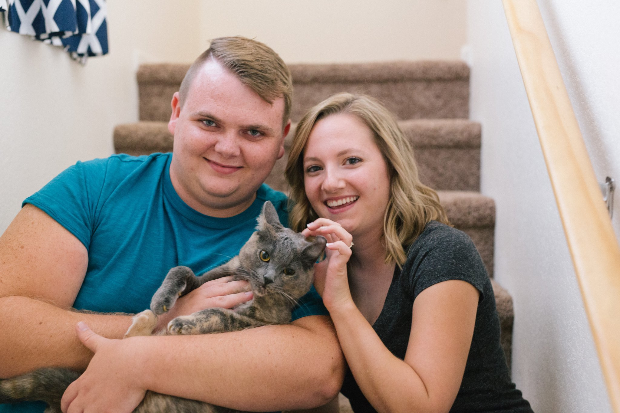 in home engagement session with a cat in Tempe, AZ