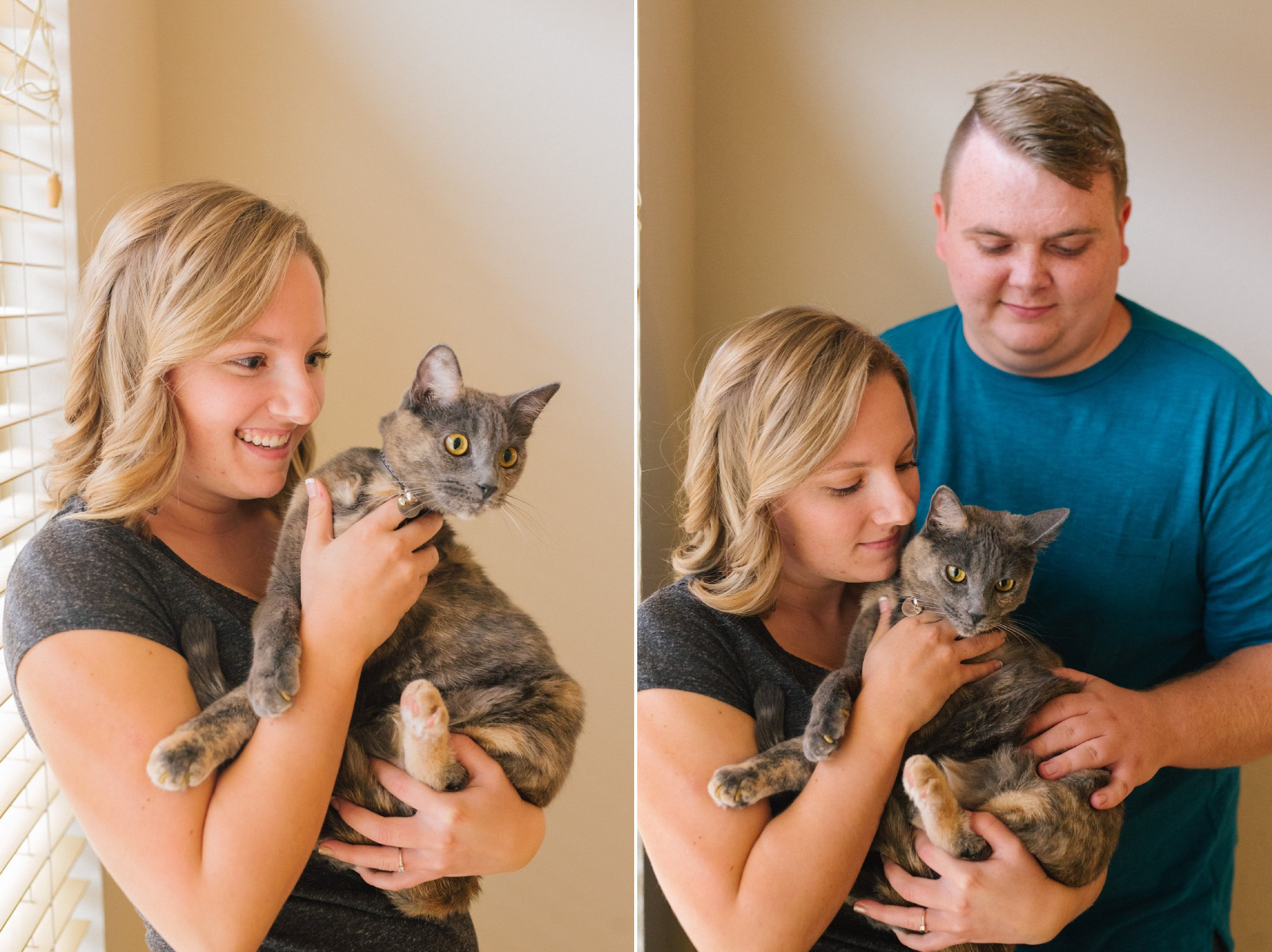 engagement photos in apartment in Tempe with cat