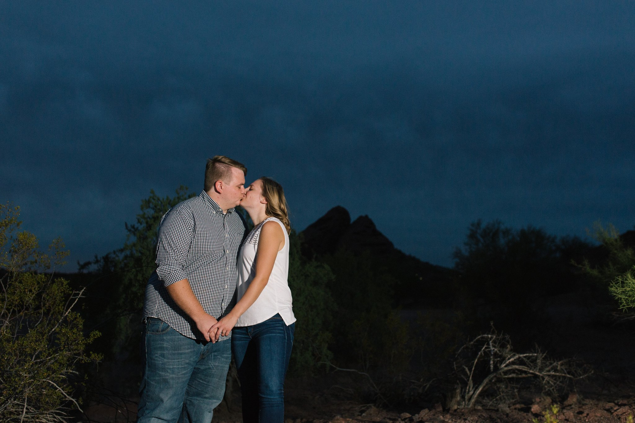 engagement photos at night in desert Tempe, AZ