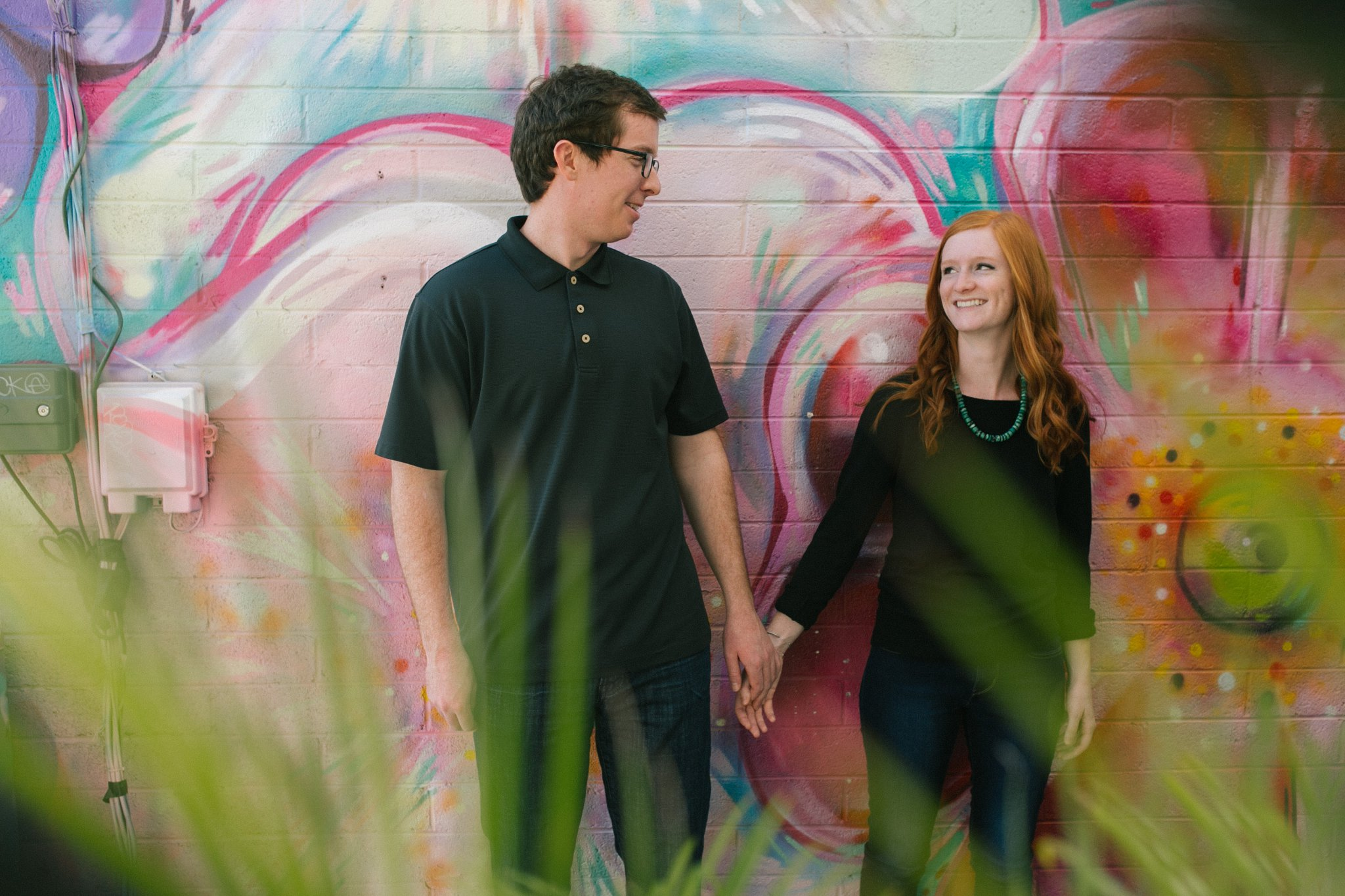 colorful flower mural downtown Mesa engagement photos