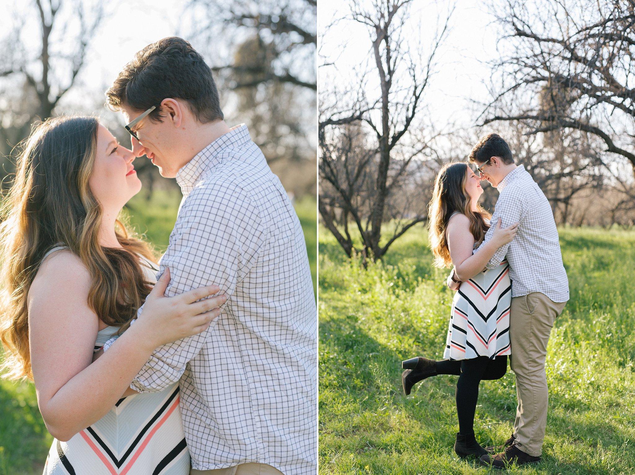 natural romantic bright engagement portraits in Arizona