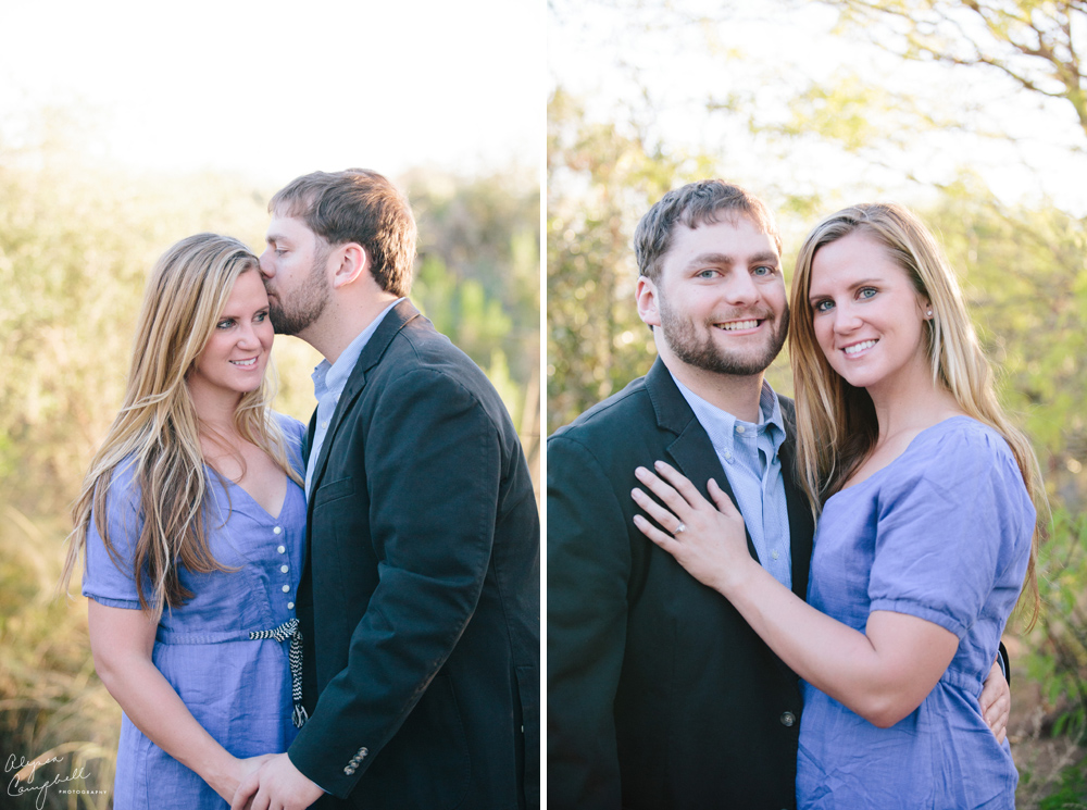 engaged couple smiling at camera and kissing forehead