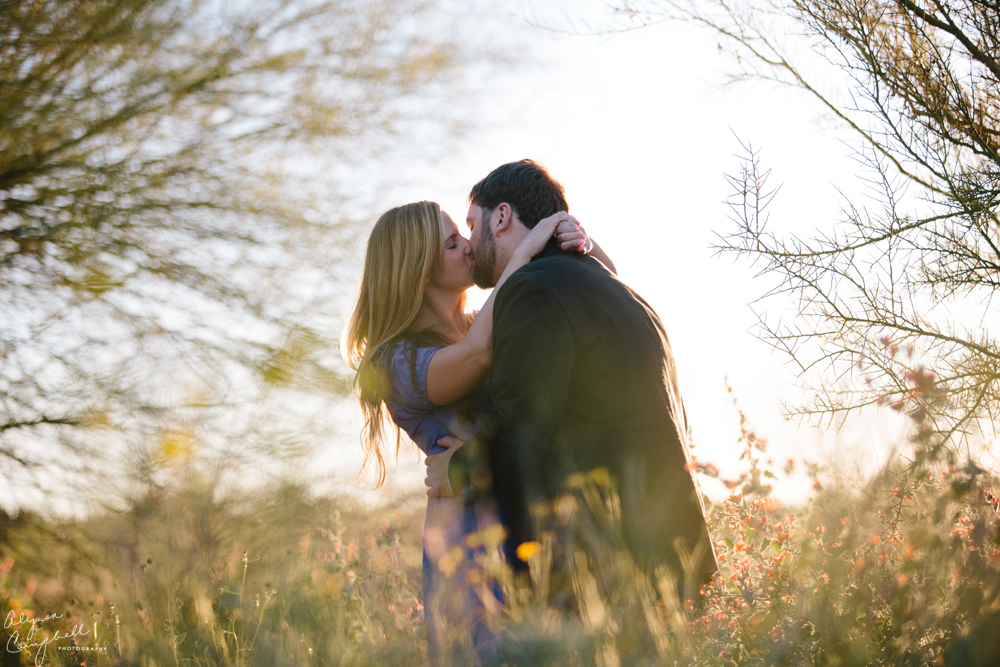 couple kissing in field with palo verde trees in background