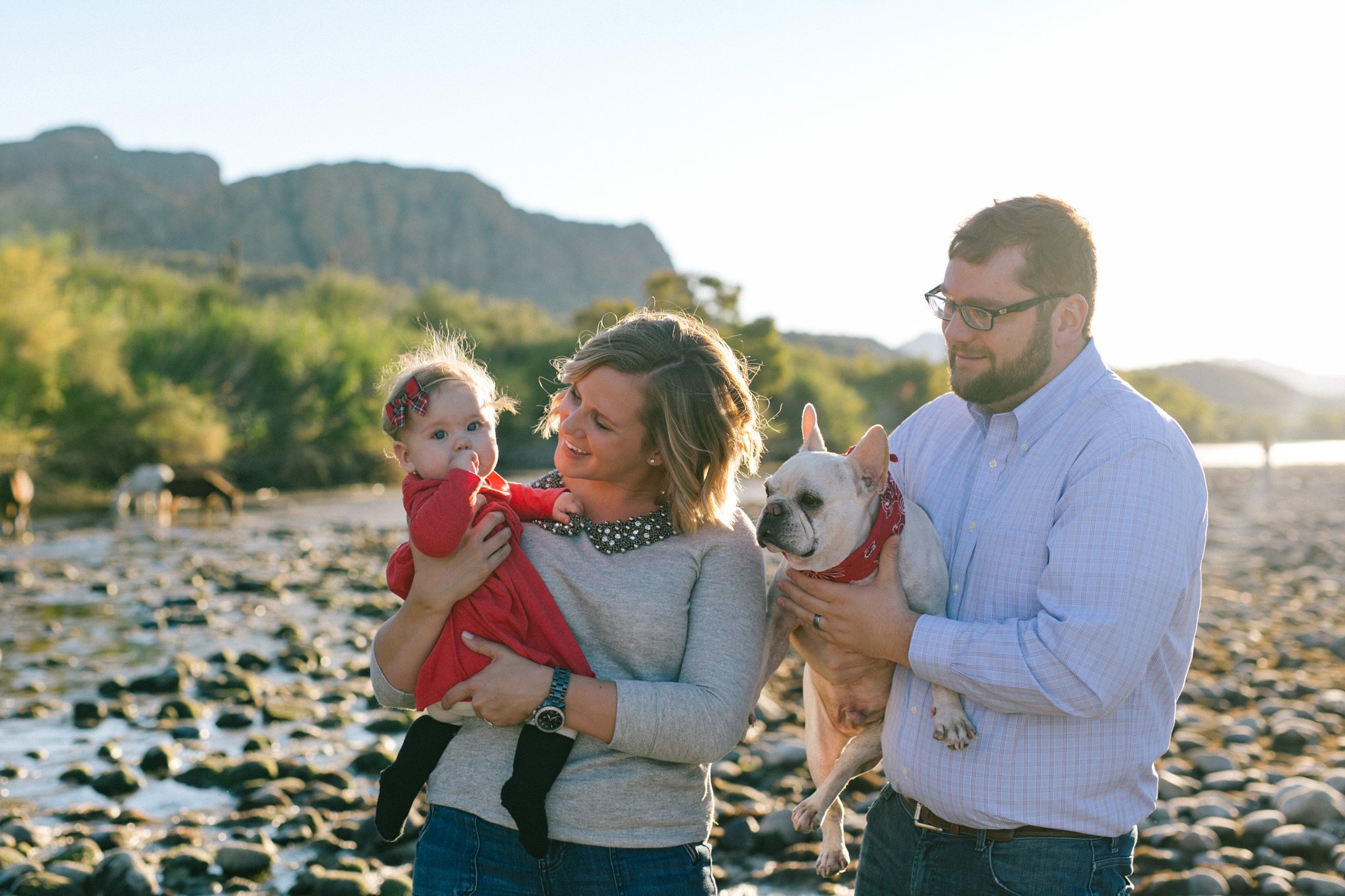 Mesa family portraits with bulldog at Salt River