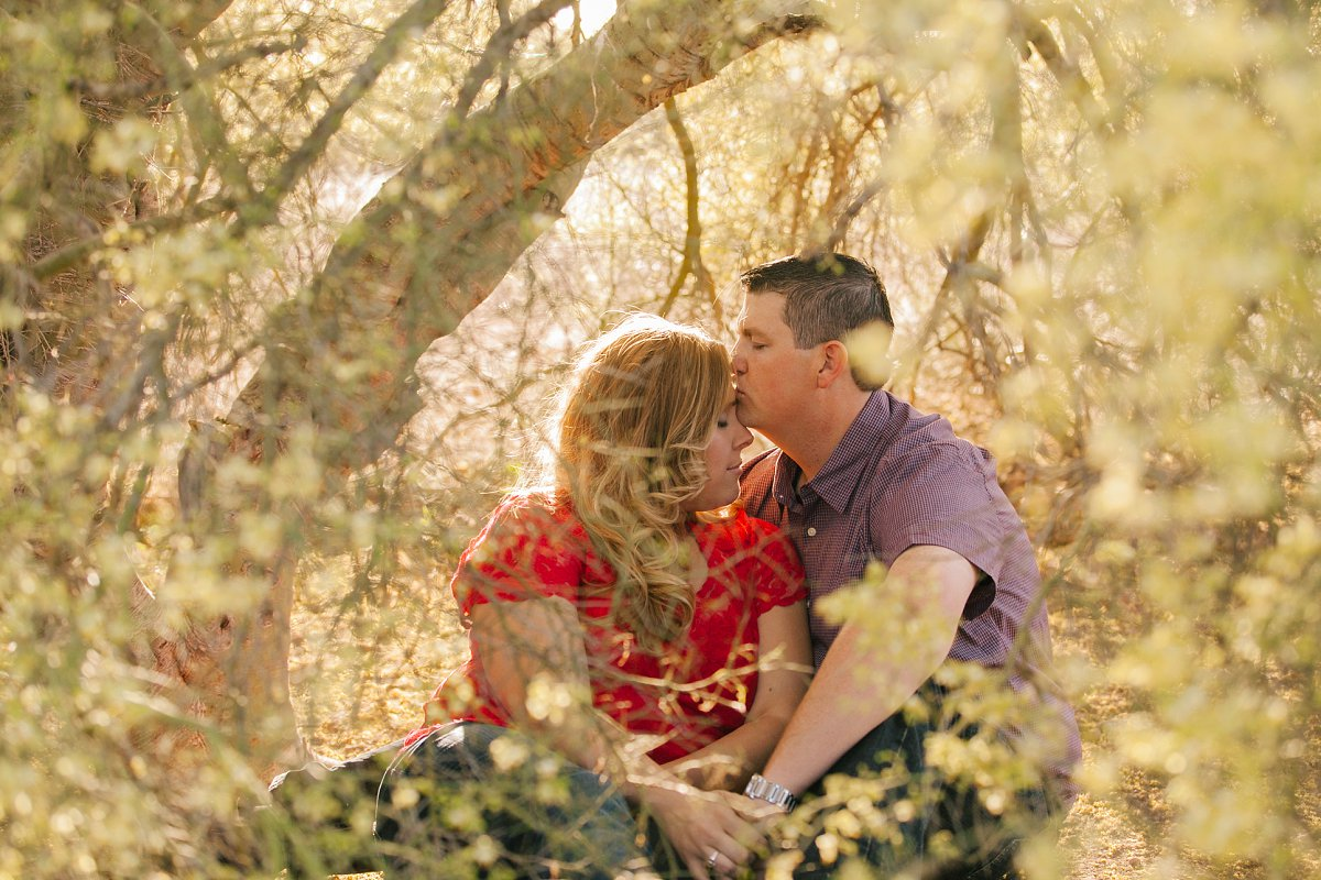 engagement photo of couple in yellow flowering palo verde tree at sunset in Phoenix