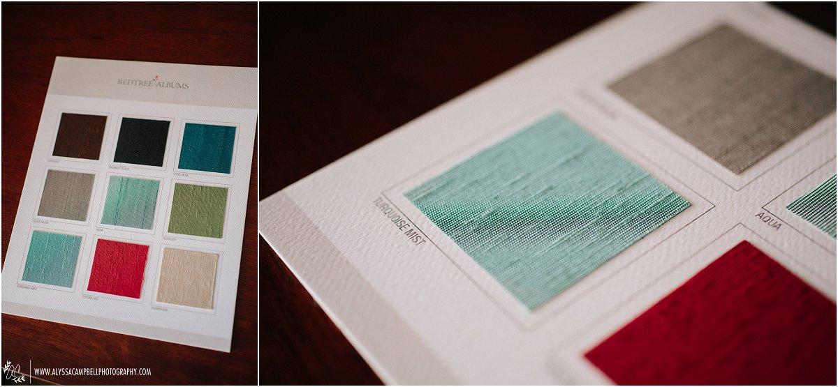 wedding album cover swatches in linen