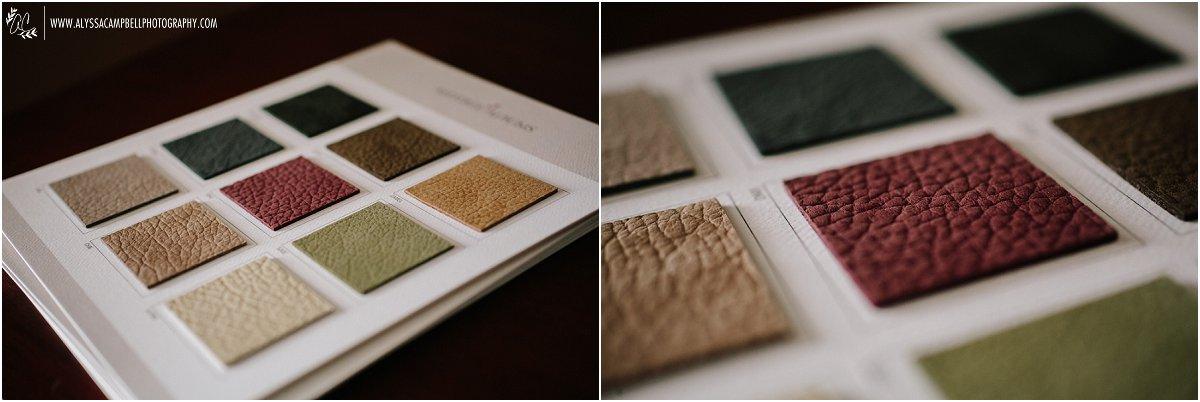 suede leather wedding album sample swatches