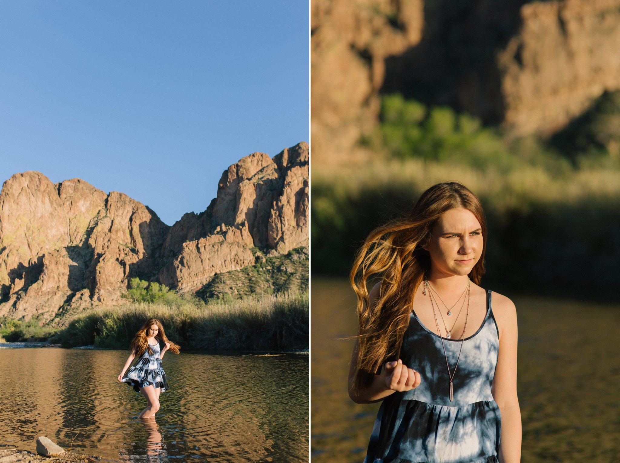 outdoor senior portraits in the Salt River Arizona