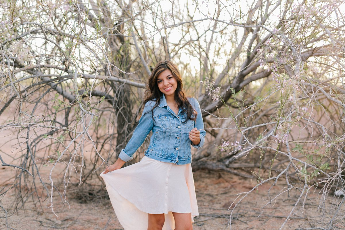desert senior portrait session in Phoenix ironwood tree in bloom