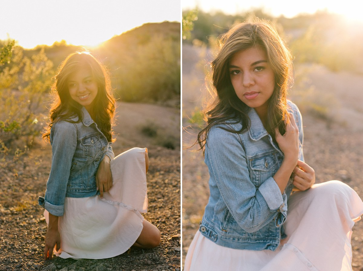 desert senior portrait session at Papago Park at sunset