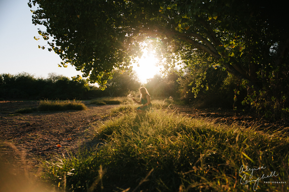 senior girl in field of grass with tree at sunset