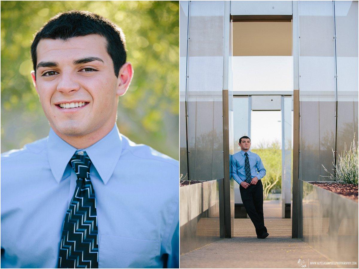 handsome high school guy senior portraits in blue dress shirt & tie by Mesa high school photographer Alyssa Campbell
