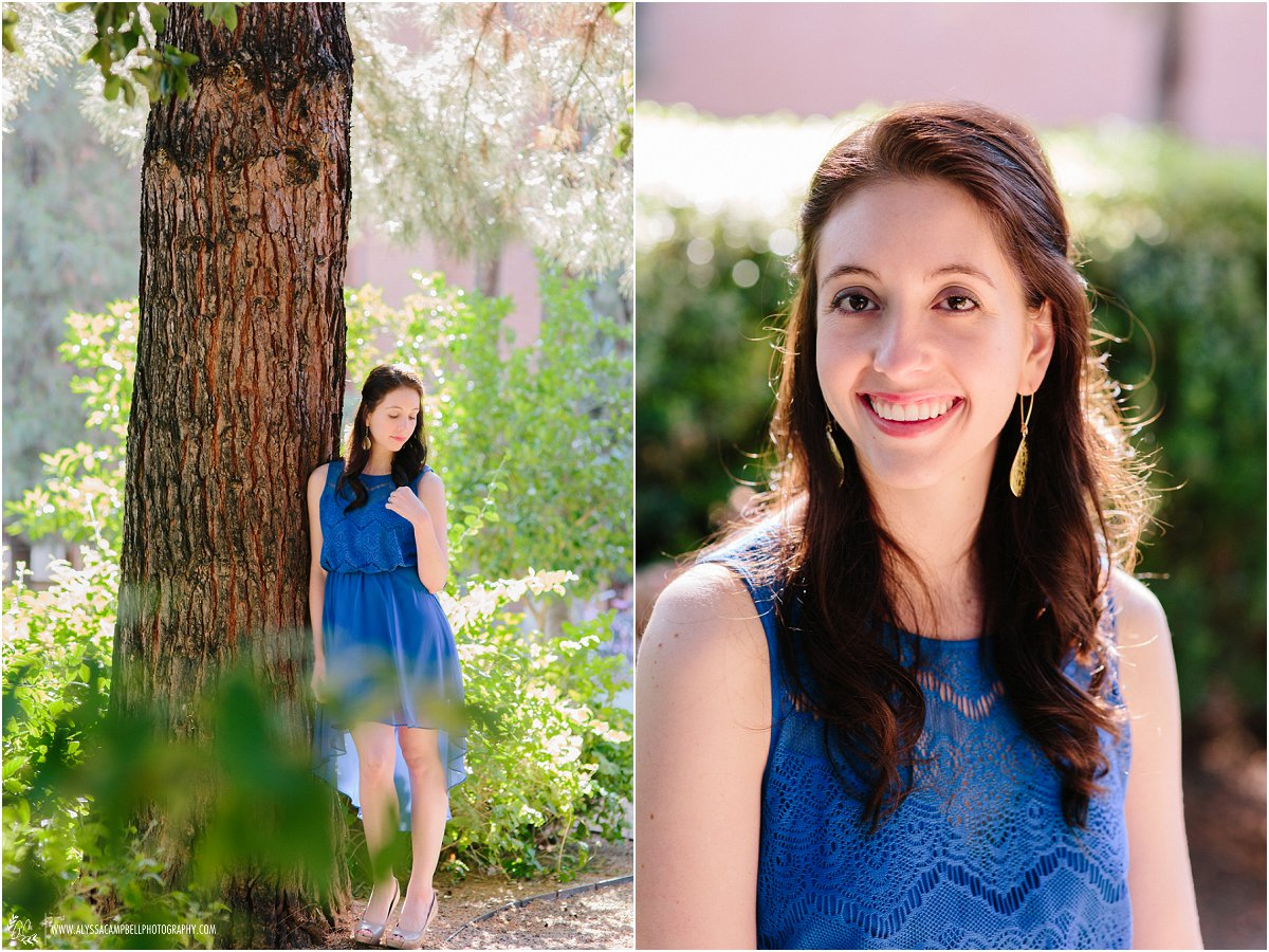 beautiful portraits of woman in blue dress at Arizona State University by College Senior photographer Alyssa Campbell