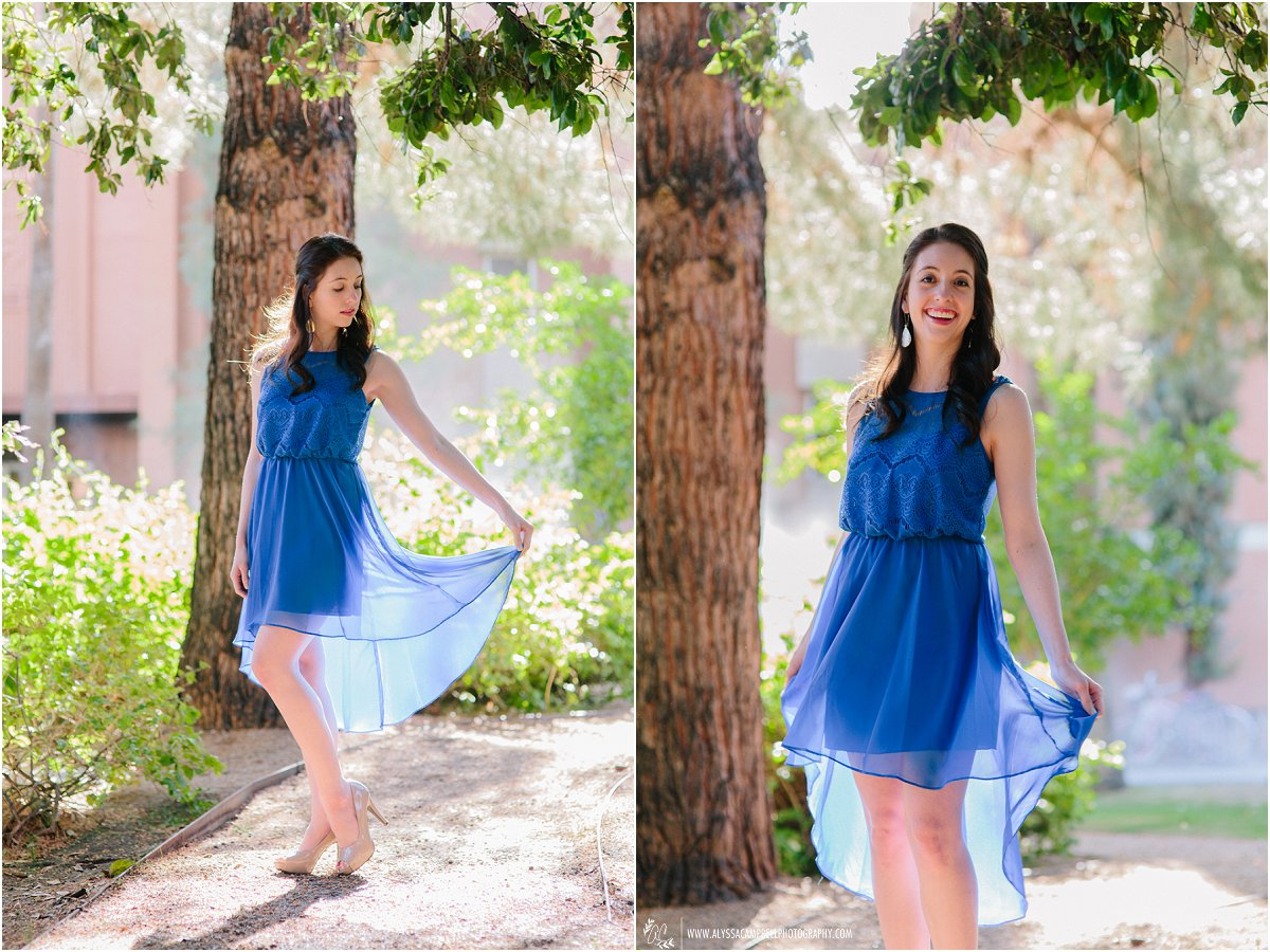 Arizona State University graduate portraits in blue dress on campus College Senior photographer Alyssa Campbell