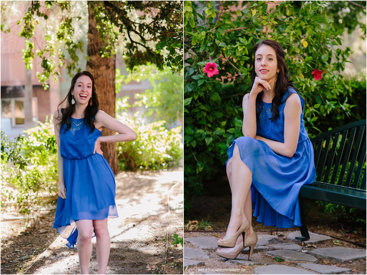 beautiful girl in blue dress on ASU campus laughing College Senior photographer Alyssa Campbell