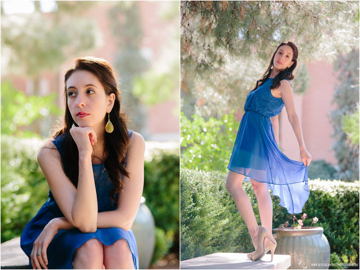 dancer at Arizona State University in blue dress College Senior photographer Alyssa Campbell