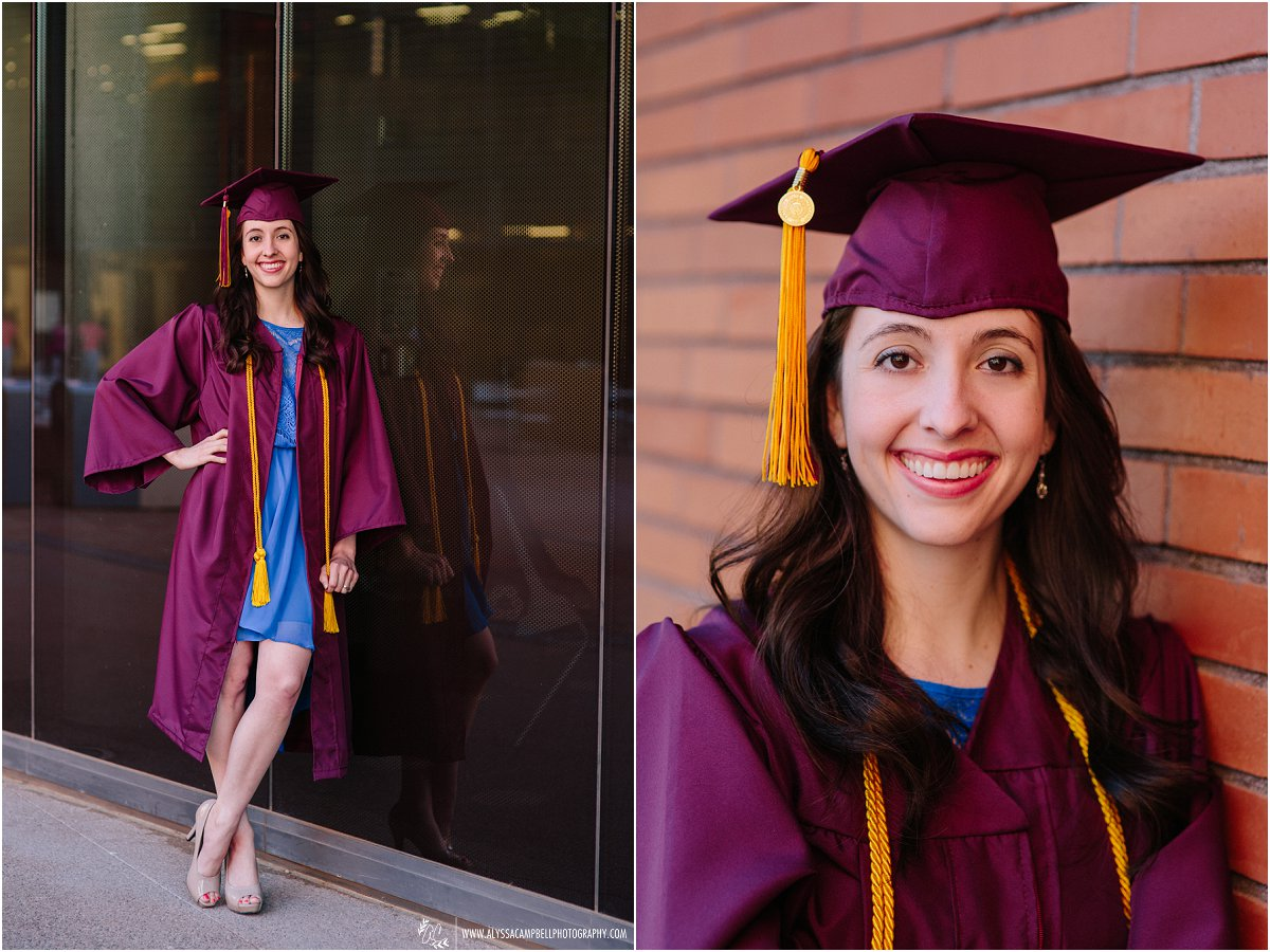 Arizona State University cap & gown portaits at WP Carey School of Business College Senior photographer Alyssa Campbell