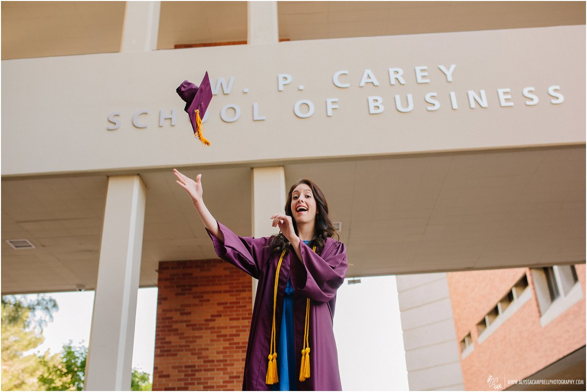 WP Carey Business School grad tossing cap in her gown College Senior photographer Alyssa Campbell