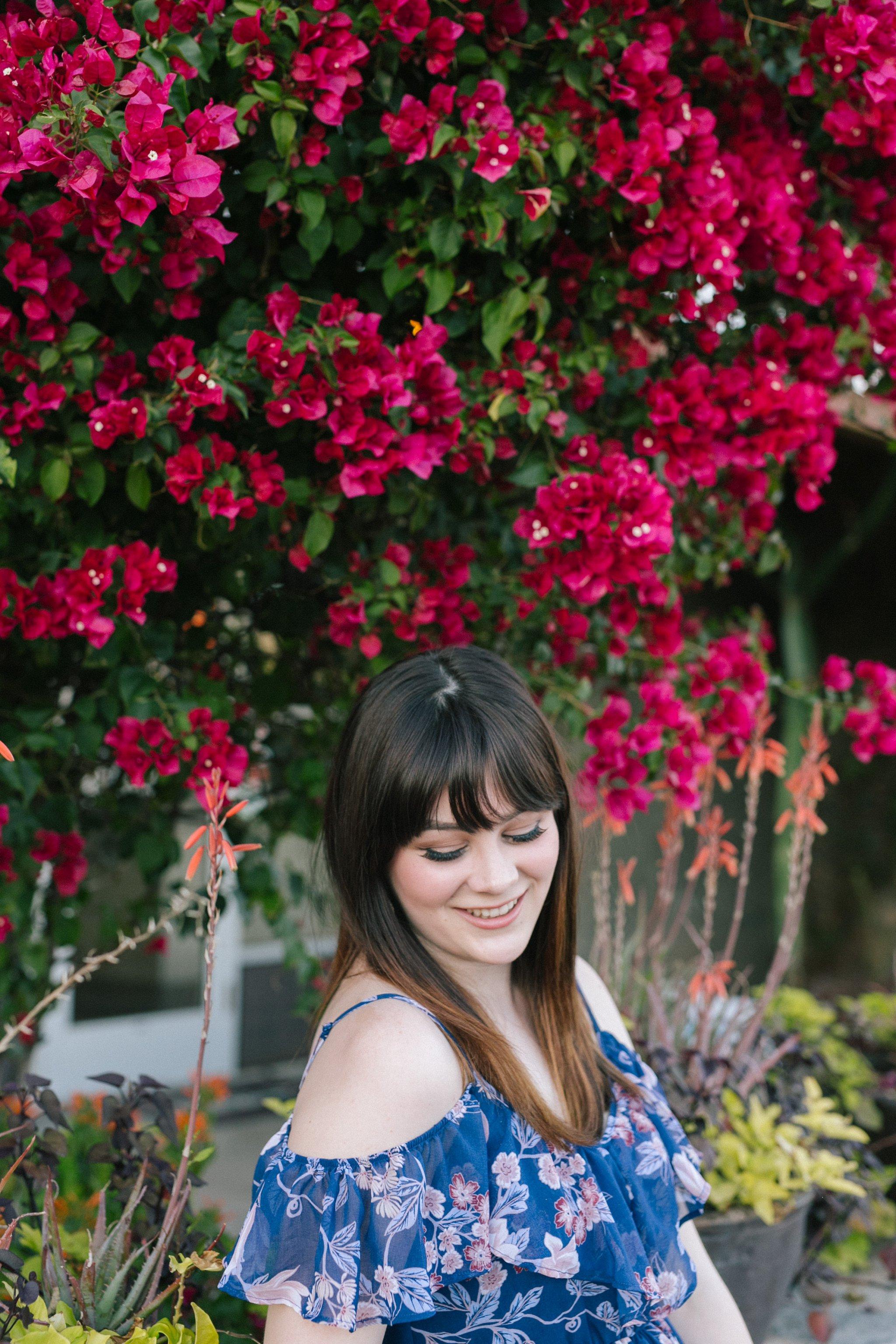 colorful flowers high school senior portraits in Scottsdale AZ