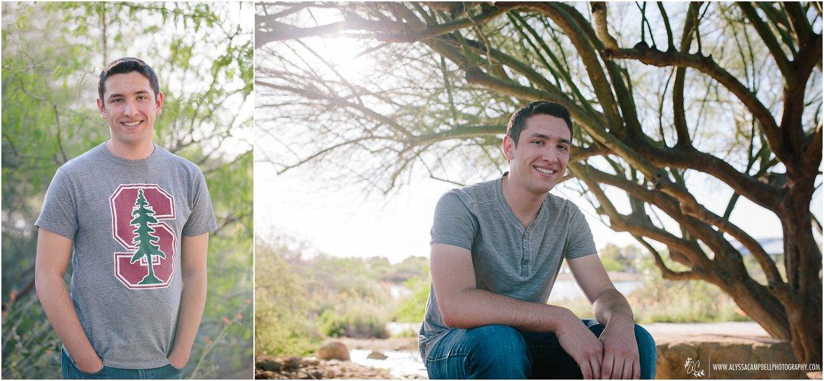 high school senior guy in grey shirt by Mesa senior photographer Alyssa Campbell Photography