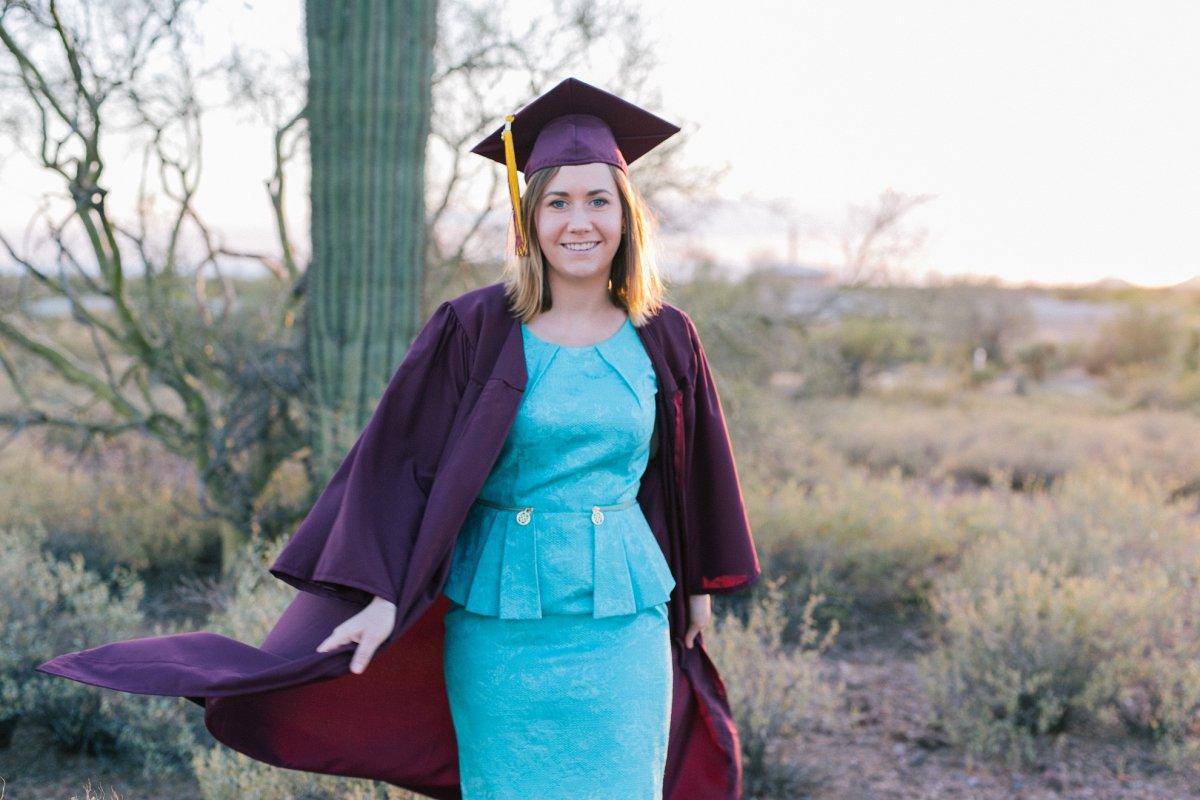 Arizona State University college graduation portraits outdoors near Superstitions