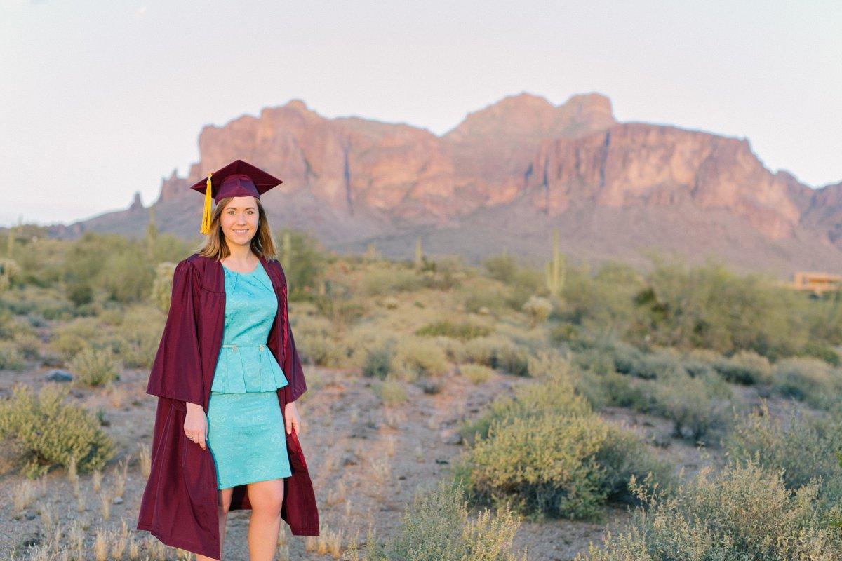Superstition Mountains college graduation senior photos
