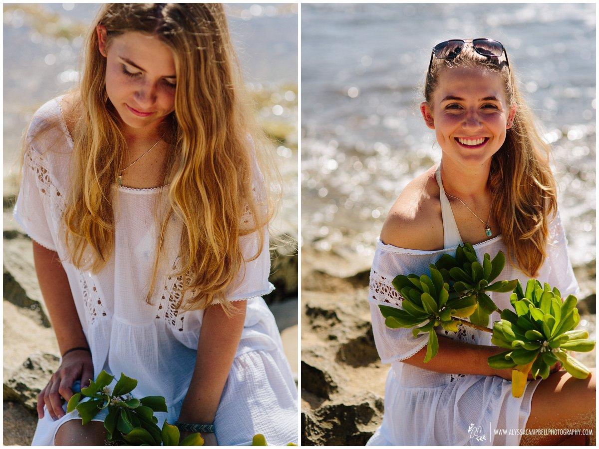 Oahu senior portraits on a beach