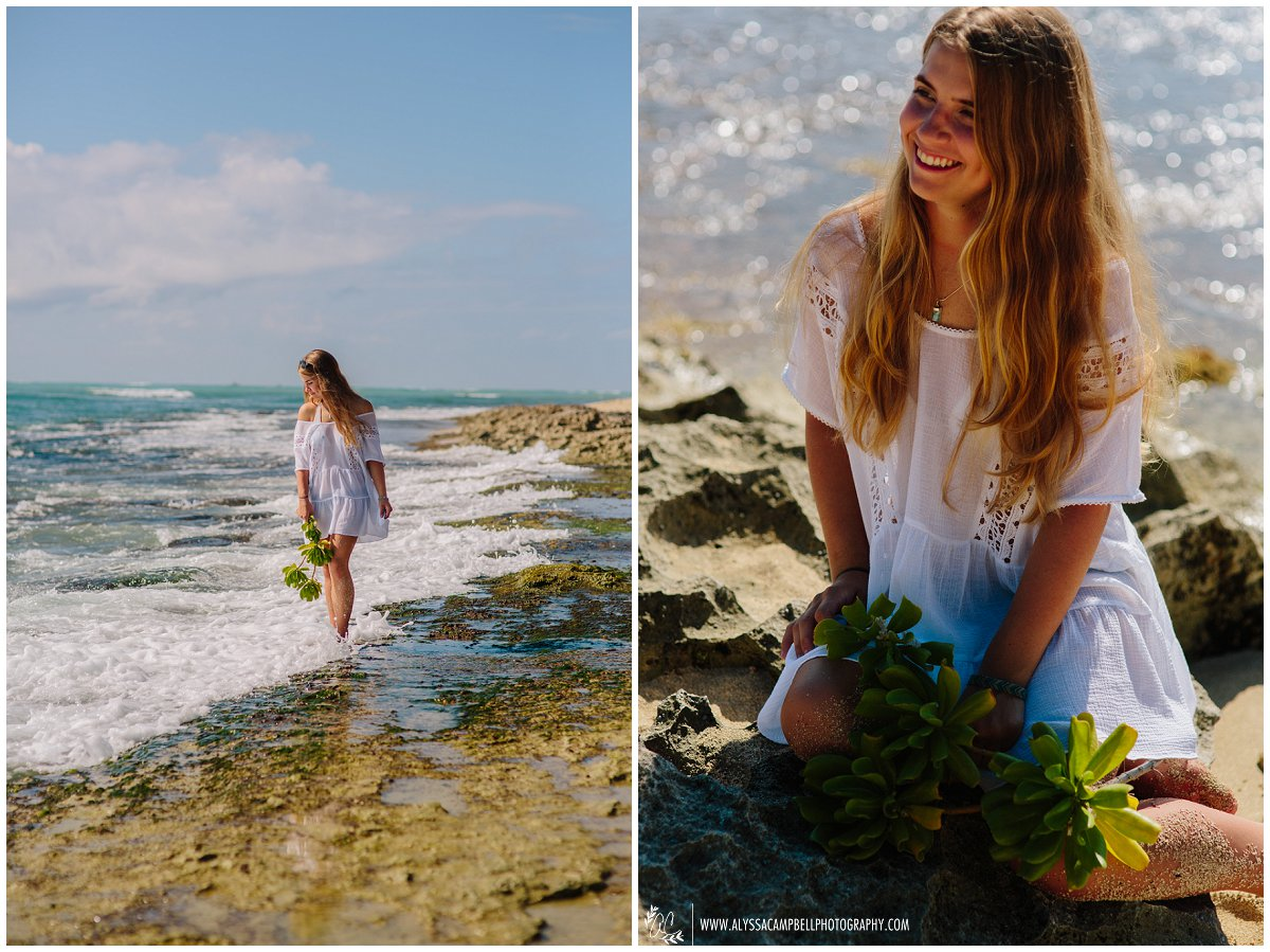 senior portraits on Oahu beach