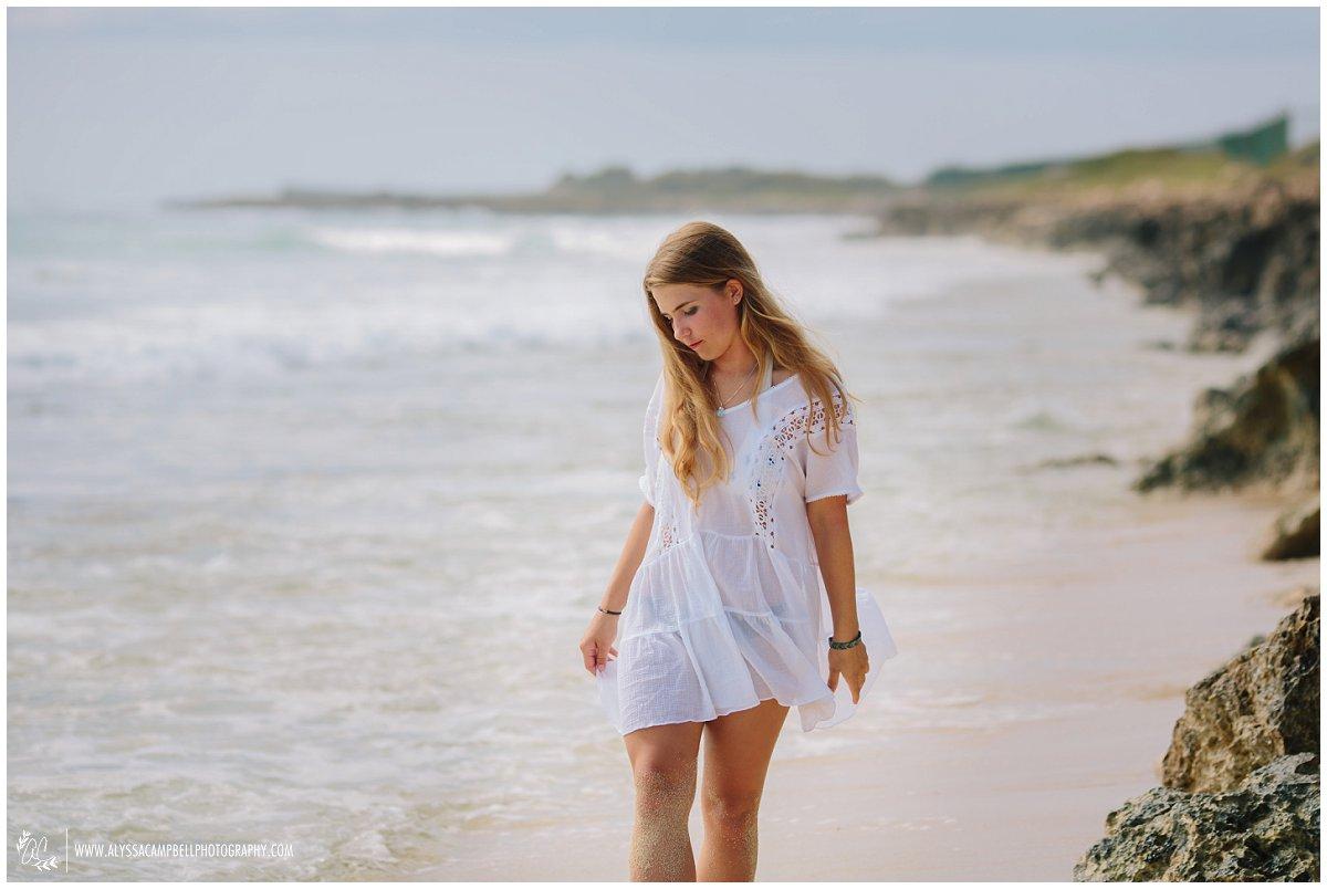 high school senior on Oahu beach