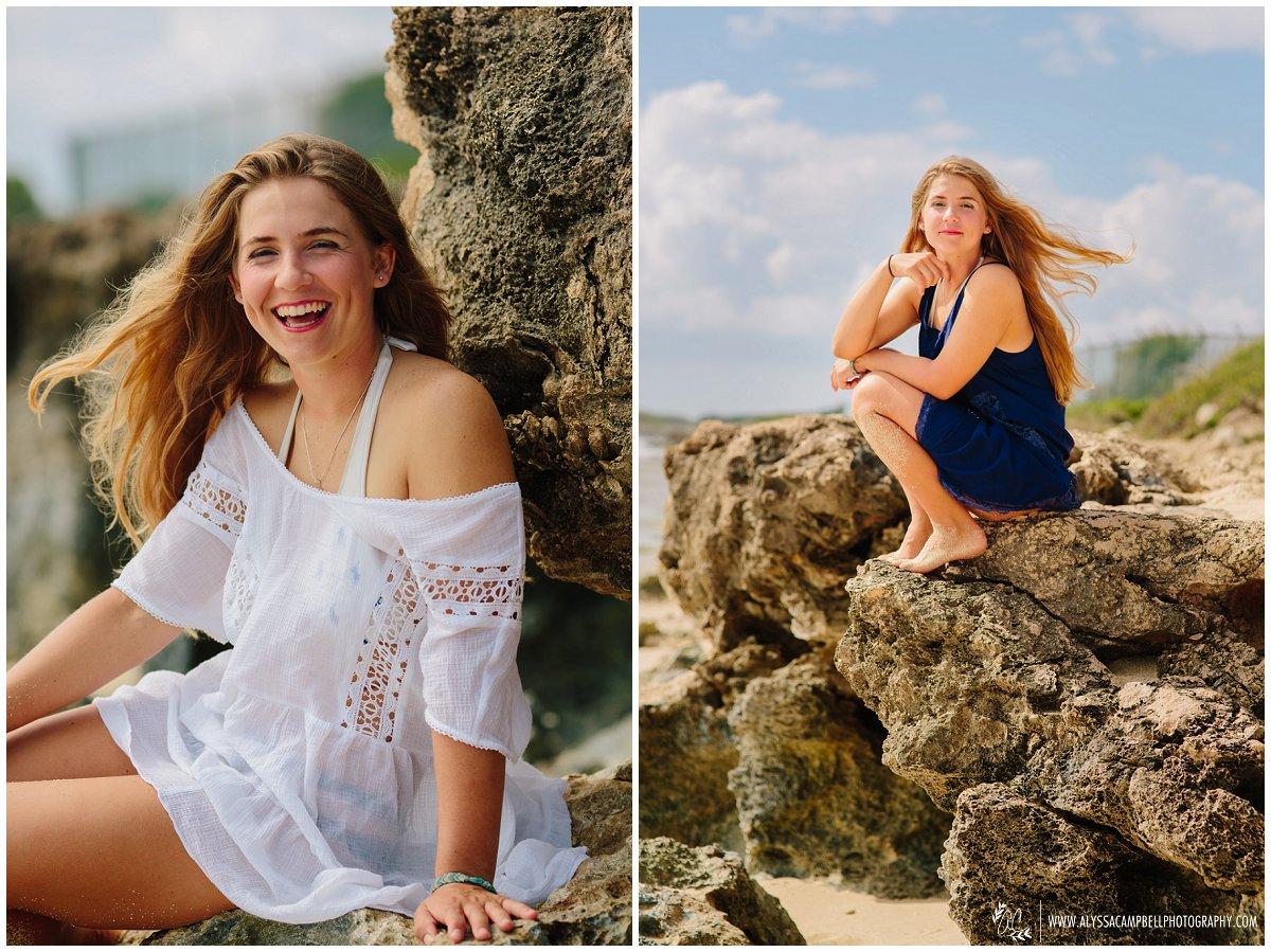 Oahu high school senior portraits on beach