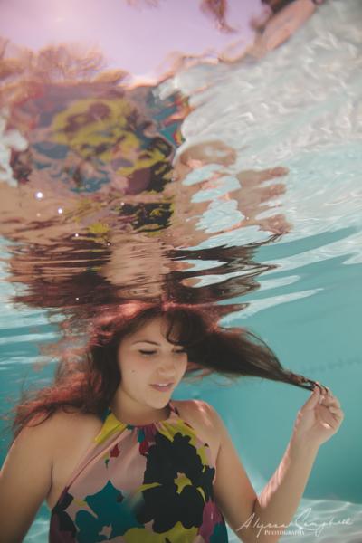 arizona high school senior girl in floral print dress underwater