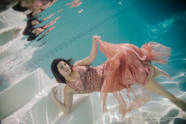prom dress photos underwater in Arizona backyard pool