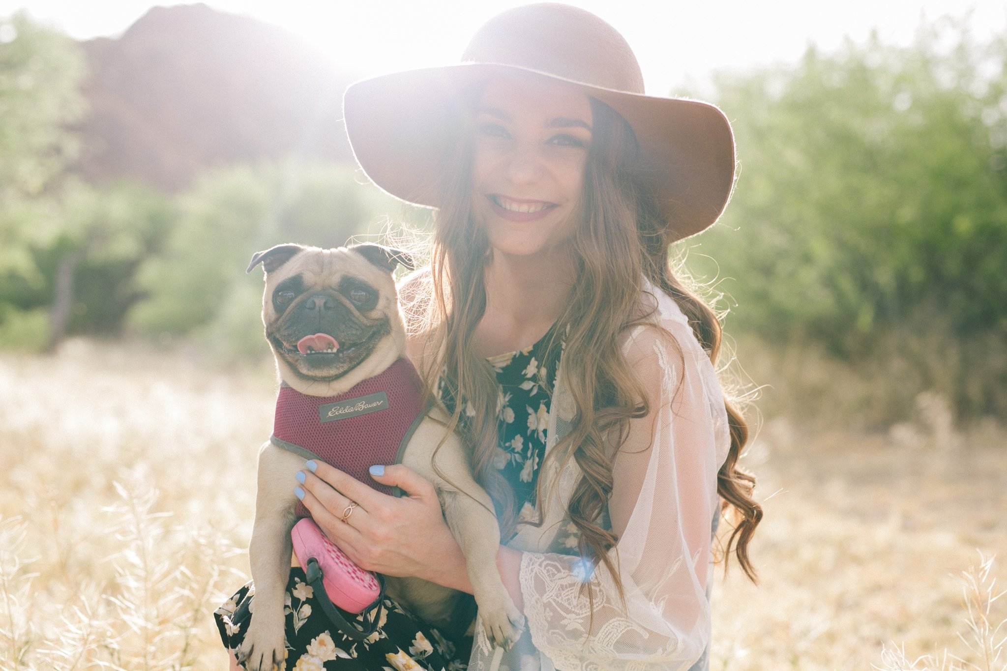 boho senior portrait session in Arizona with pug