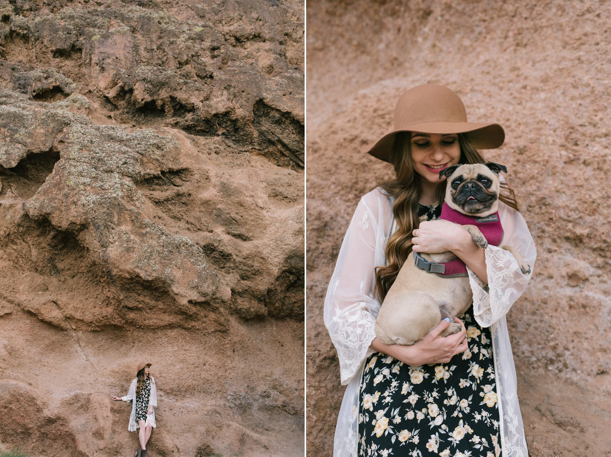 outdoor nature senior photos in Arizona with dogs