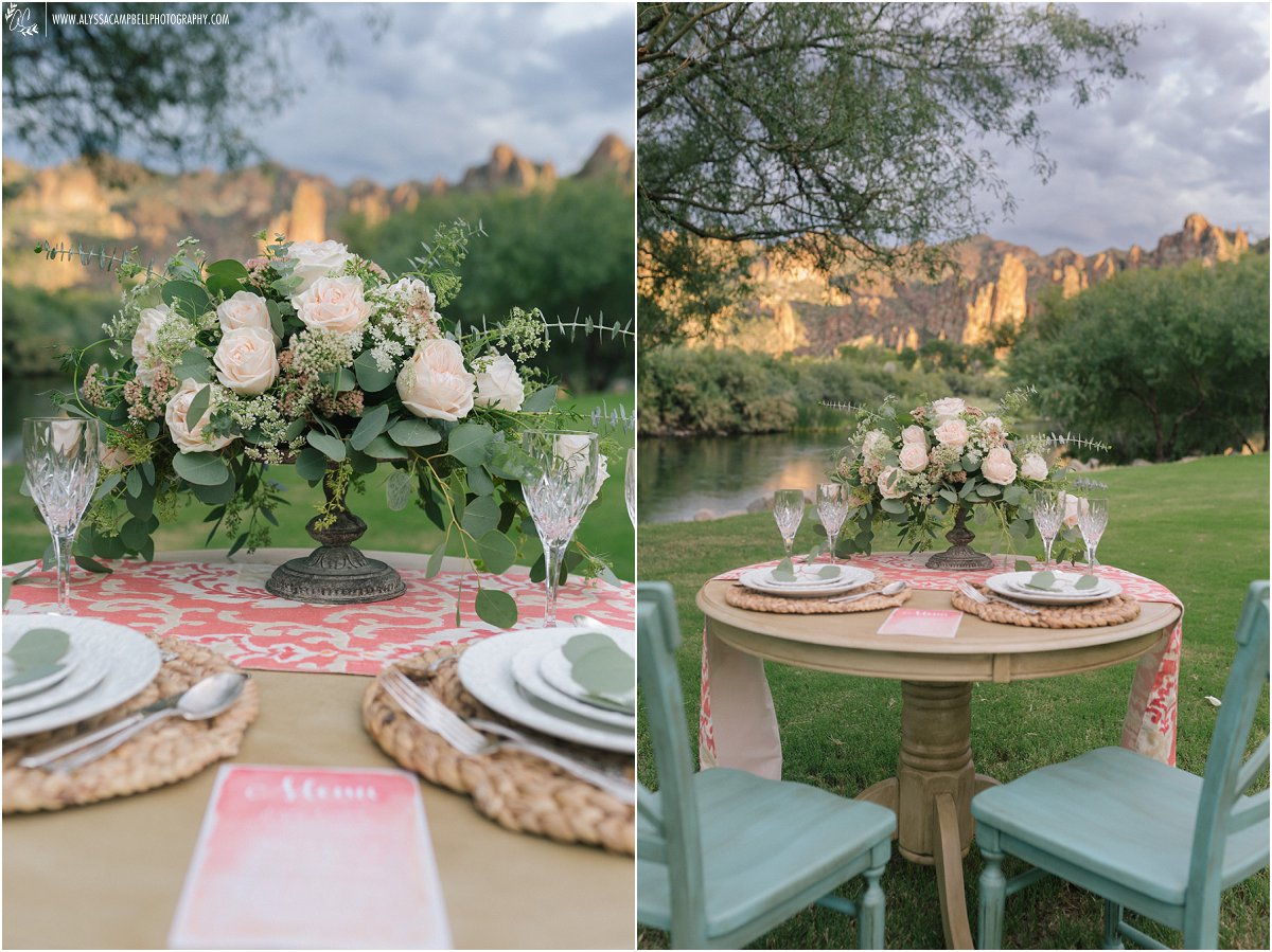 simple nature inspired wedding table at Saguaro Lake Ranch by Mesa wedding photographer Alyssa Campbell