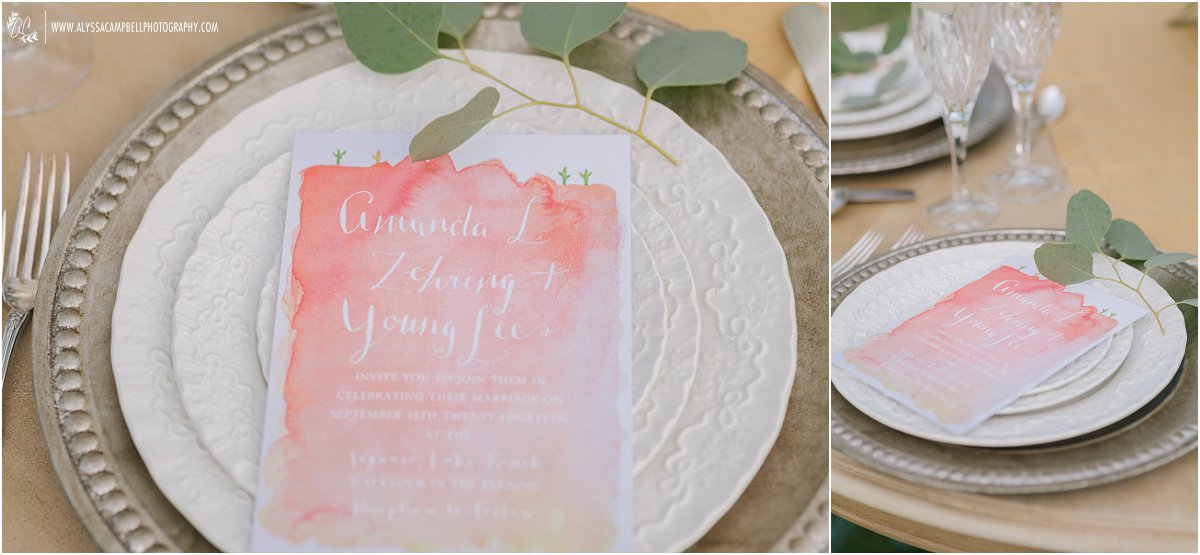 sunset watercolor wedding invitation inspired by desert and calligraphy on fine china