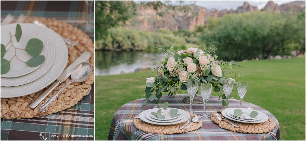 wedding sweetheart table with plaid linens and elegant dishwear at Saguaro Lake Ranch by Mesa wedding photographer Alyssa Campbell