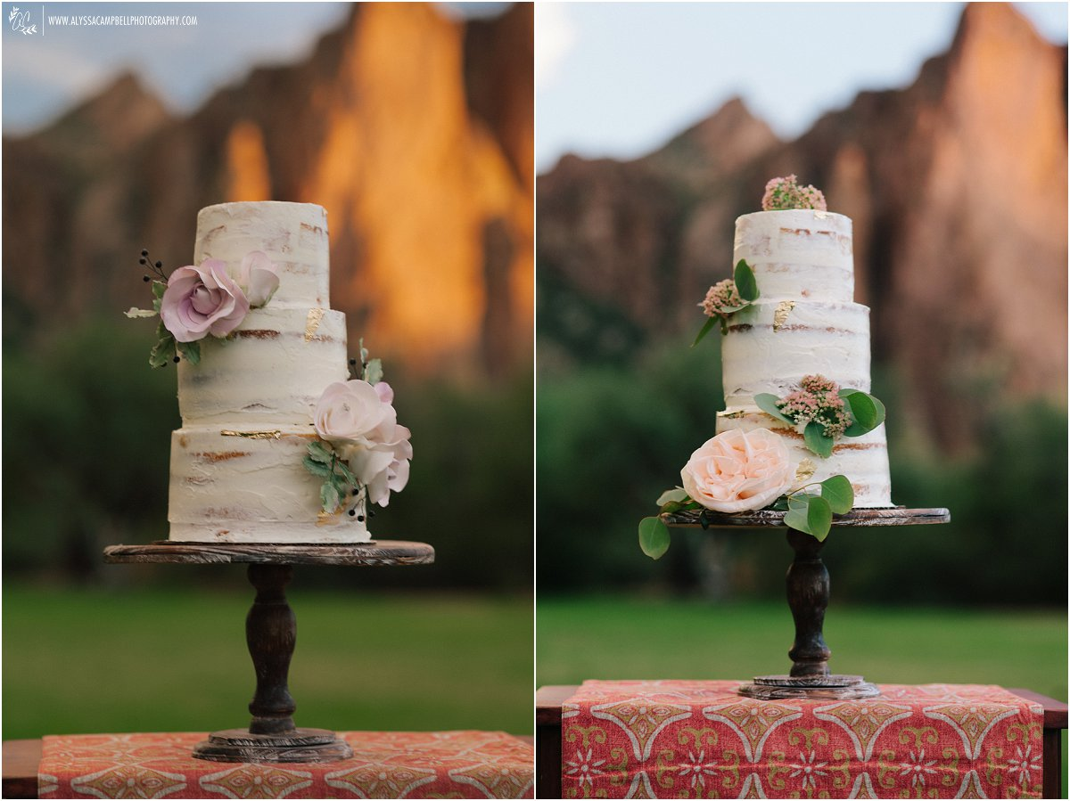 almost naked wedding cake with gold leaf accents and sugar flowers and real flowers