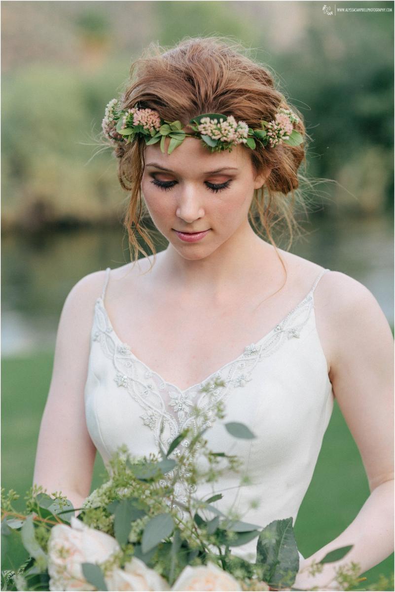 boho bride with floral crown and natural make up at Saguaro Lake Ranch Mesa wedding photographer Alyssa Campbell