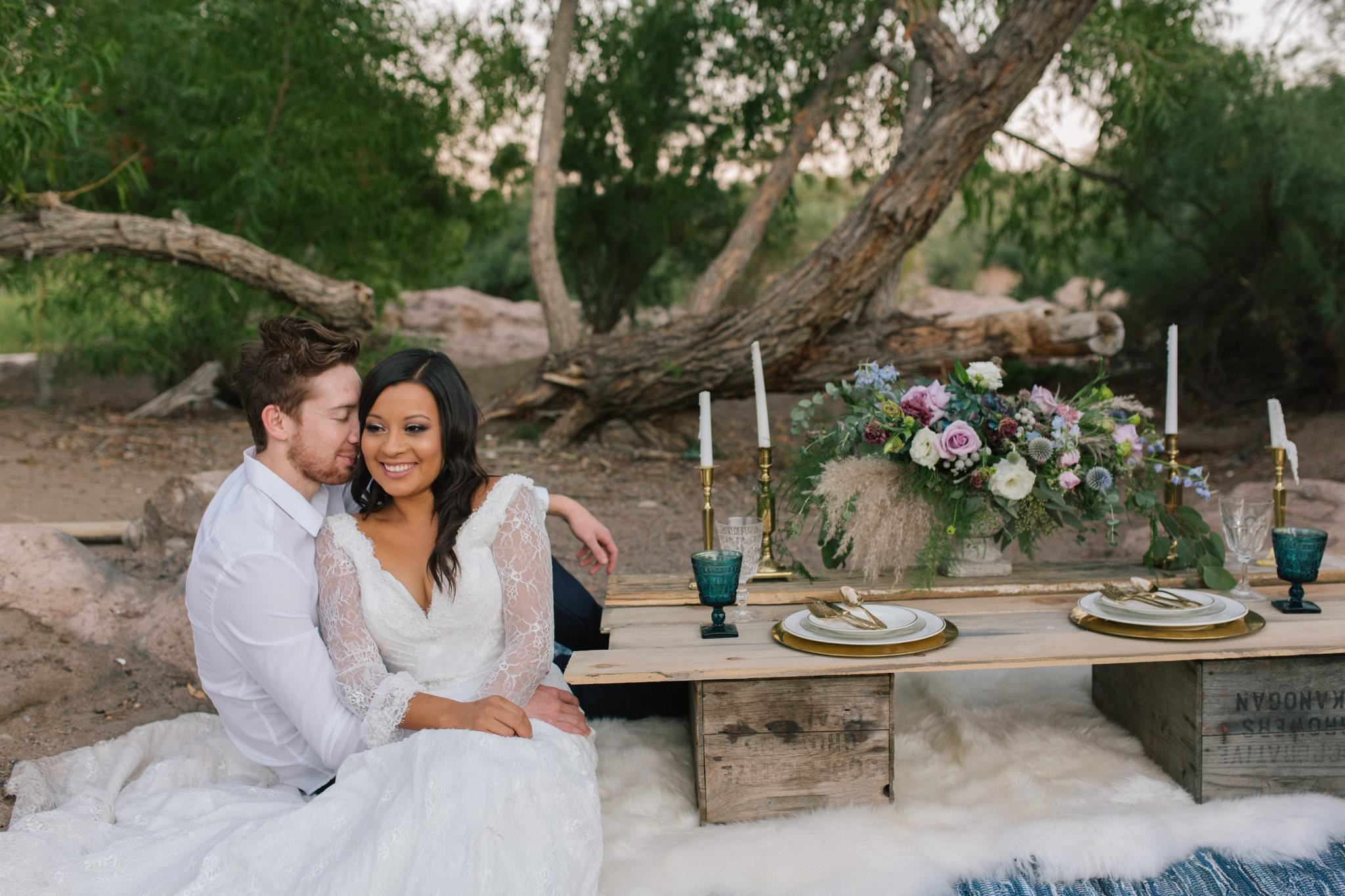 Salt River wedding elopement with low wood plank table
