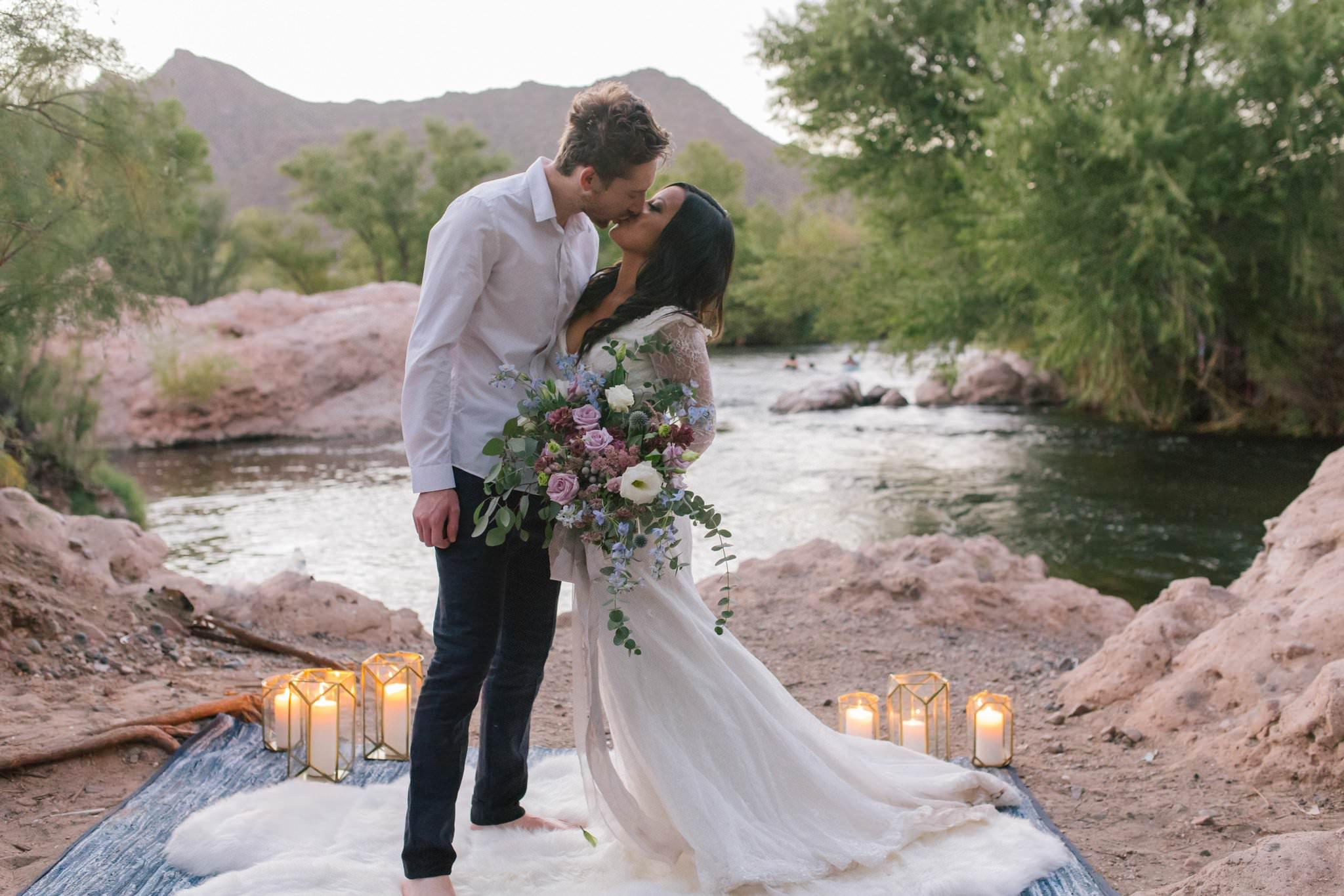romantic ethereal Salt River wedding with candles