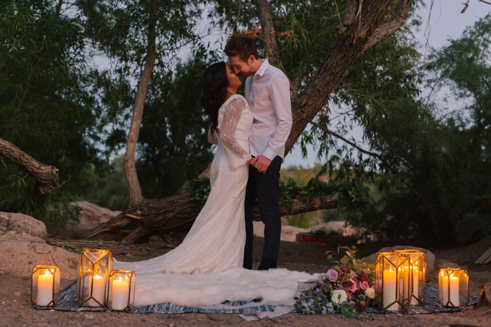 romantic candlelit dusk elopement at Arizona Salt River