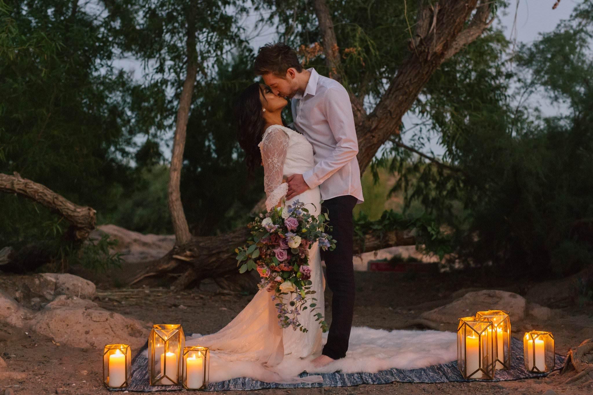 dusk romantic candlelit elopement ceremony at Salt River Mesa AZ